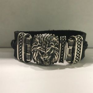 sterling silver lion face bracelet with  leather